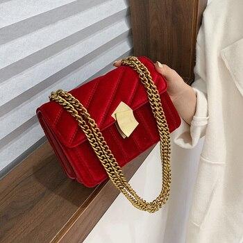 Bolso de mano de lujo para mujer, cadena de terciopelo de alta calidad, bolso bandolera de hombro para mujer, bolso cuadrado pequeño para fiesta