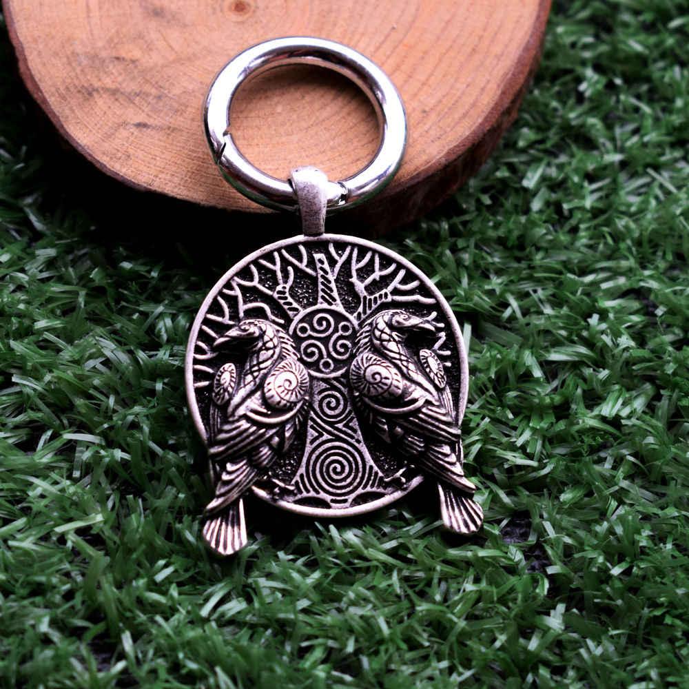 SanLan 1 cái Viking cặp đôi Raven móc khóa