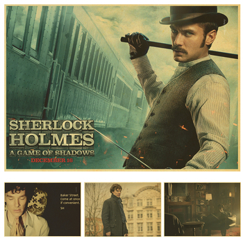 Wall sticker Sherlock Holmes vintage poster retro Benedict Cumberbatch posters episodes home decor image
