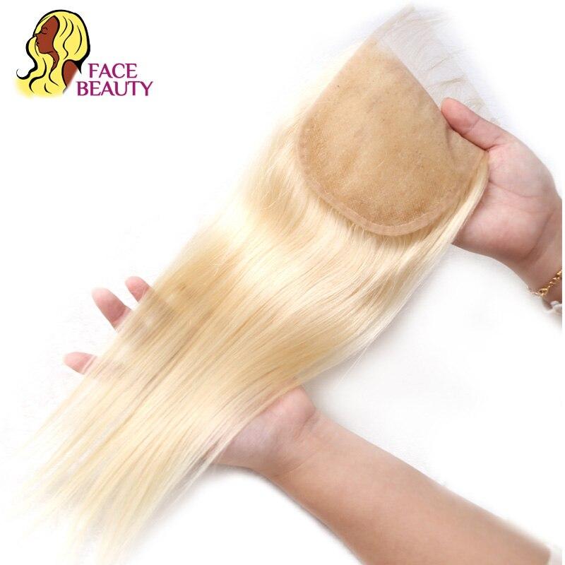 Facebeauty 5x5 бразильские Прямые Человеческие волосы Remy чистый 613 медовый блонд Кружевной Топ Закрытие 8-22 дюйма Отбеленный узел с волосами ребен...