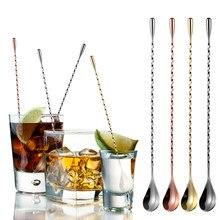 Colheres de cocktail espiral de aço inoxidável punho longo teadrop colheres bartender mexendo colheres ferramentas cozinha suprimentos