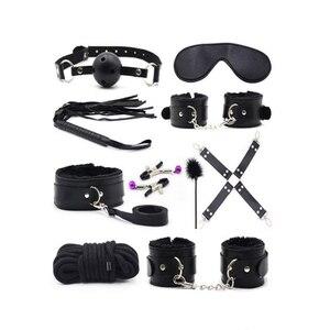 10 unidades/juego de productos sexuales BDSM cuero de poliuretano conjunto de Bondage esposas sexuales Footcuff Whip cuerda venda para ojos erótica juguetes sexuales para parejas