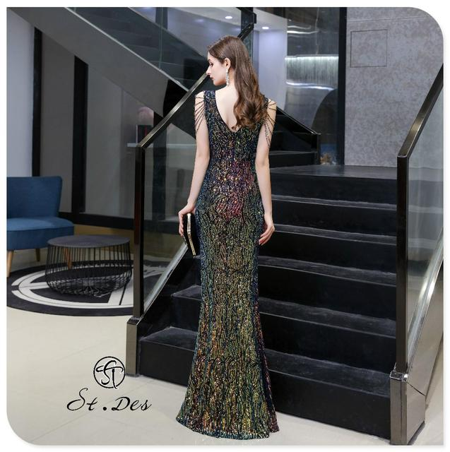 S.T.DES Evening Dress 2020 New Arrival colorful Beading Mermaid V-Neck colorful Sleeveless Floor Length Party Dress Dinner Gowns 3