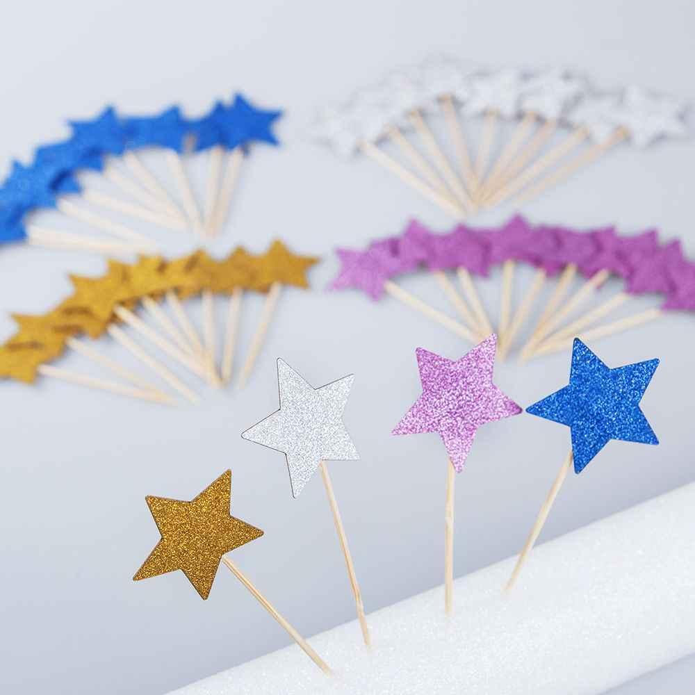 10 ชิ้น/ล็อตเค้ก Topper Glitter Gold Silver Star เค้กตกแต่งเด็กทารกเด็กวันเกิดงานแต่งงานอุปกรณ์อาหาร