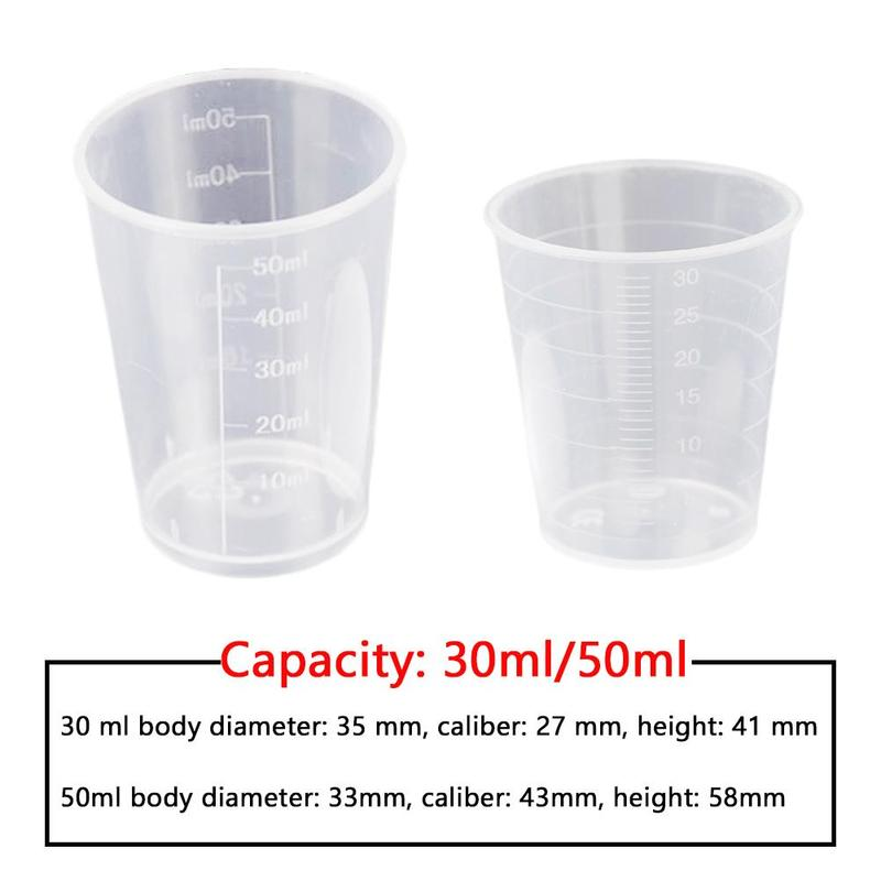 10pcs 30ml/50ml Measuring Cup With White Lid Laboratory Utensils Transparent Plastic Cup Clear Container Kitchen Tools