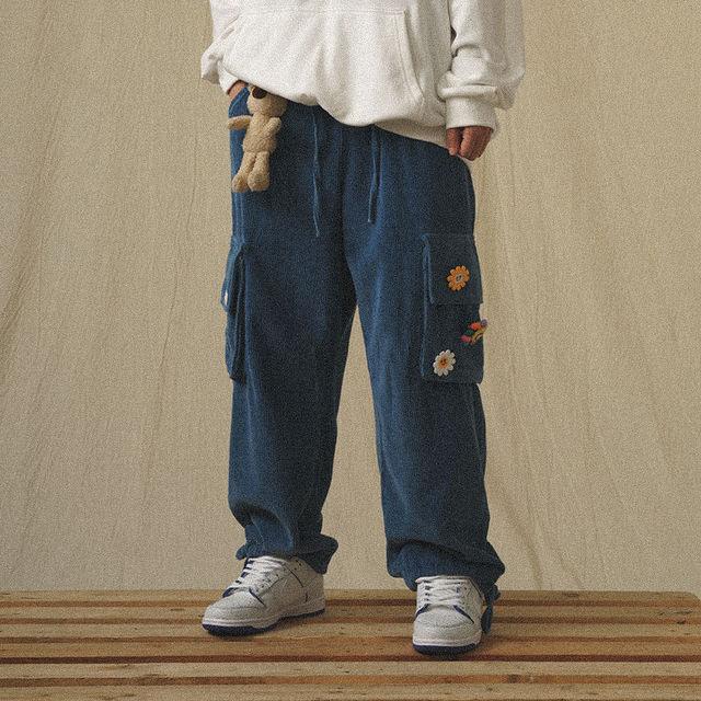 QWEEK Japanese Streetwear Corduroy Pants Women Vintage Brown Cargo Pants Pockets Oversized Korean Style Wide Leg Trousers Female 3
