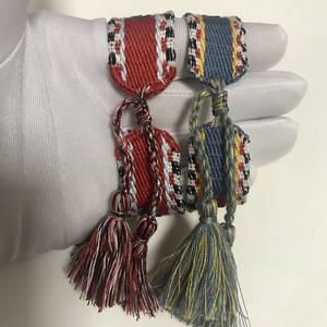 Fabric Bangle Embroidery Woven Bracelet Logo Cotton Brand Women Wristband for No-Box