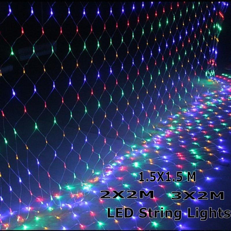 1.5mx1.5m 2x2 m 3x2 m guirlandas de natal led string luzes de natal net fadas natal festa de natal jardim decoração do casamento luzes da cortina