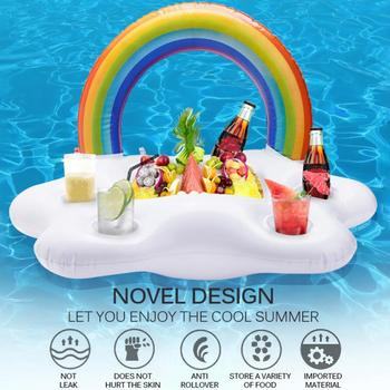 Summer Pool Drink Holder Ice Bucket Inflatable Floating Cup Holder Beer Drinking Cooler Party Bucket Rainbow Cloud Swimming Ring rechargable led ice bucket 5 liter illuminated party cooler hennessy mini rechargeable led ice bucket
