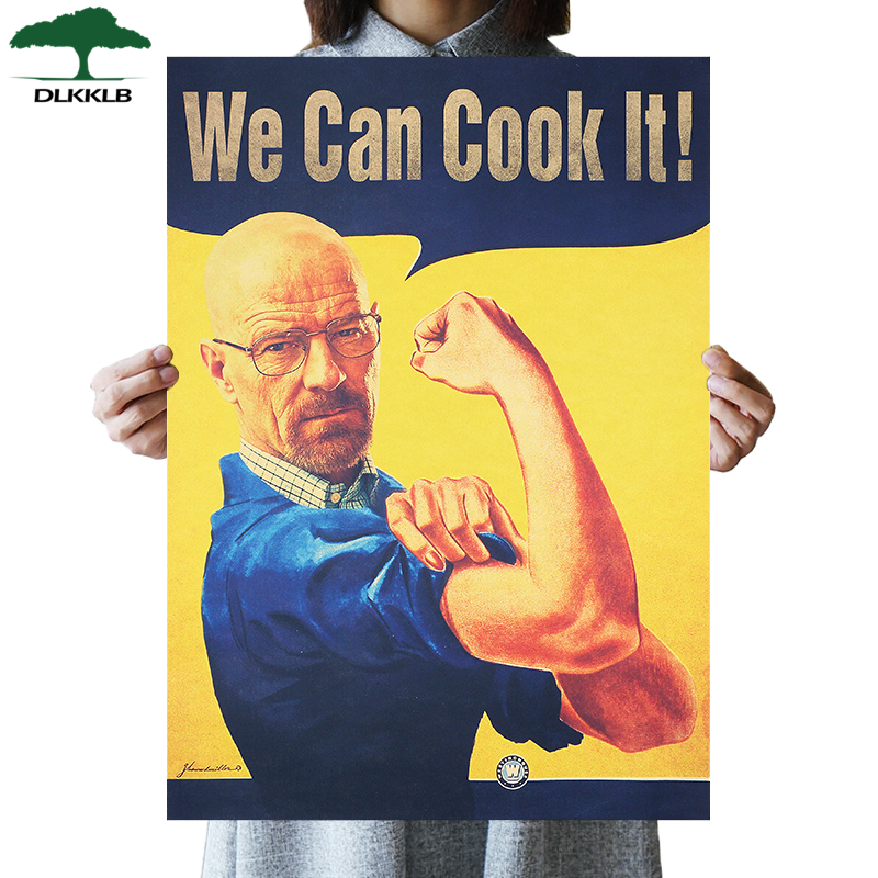 DLKKLB TV Play Breaking Bad Fun Vintage Poster We Can Cook It Kraft Paper Home Decor 51.5x36cm Bedroom Kitchen Wall Sticker