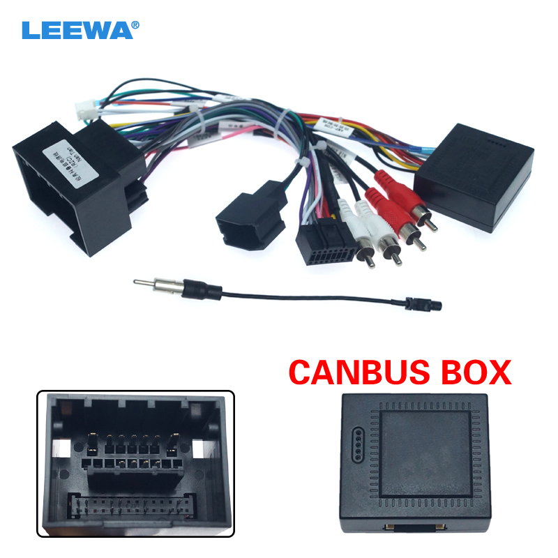 LEEWA Car Media Radio Player 16Pin Android Wire Harness With Canbus Box For Chevrolet Trax Cruze Aveo Buick Regal Power Cable