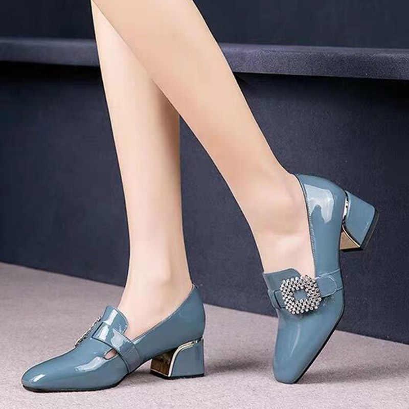 Plus Größe Frauen Pumpen Strass Schnalle Boot Schuhe Patent Leder Kleid Schuhe Karree Damen Büro Schuhe zapatos mujer 7794