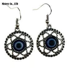 Серьги для женщин античный серебряный цвет синий злой тукиш