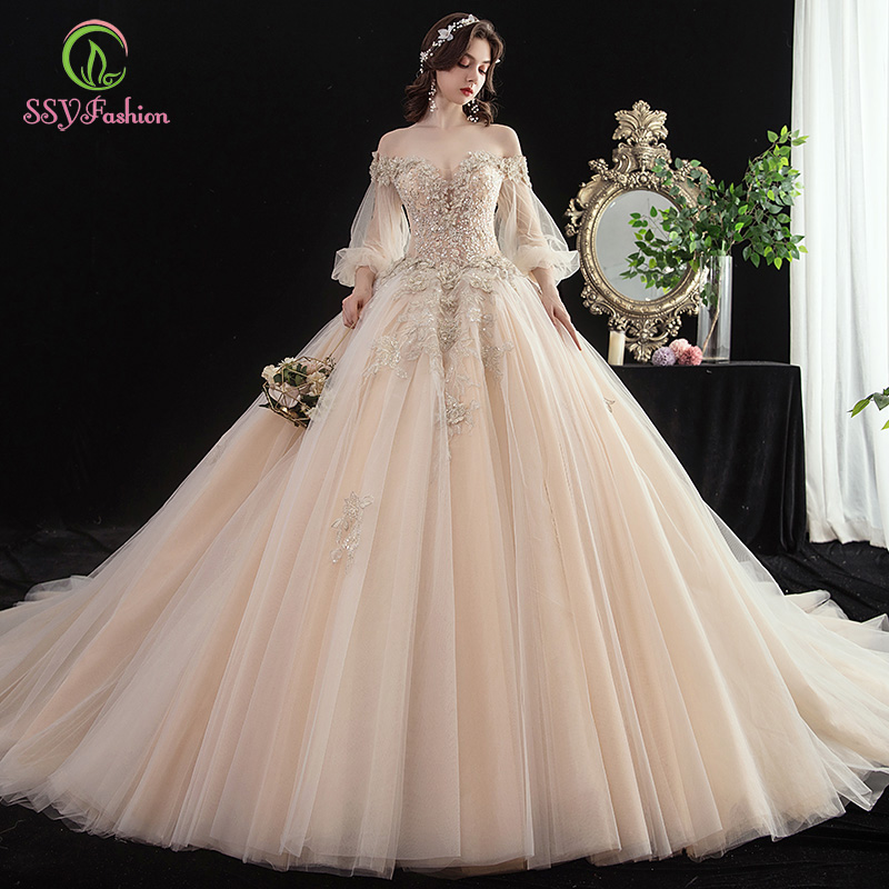 SSYFashion Luxury Champagne Wedding Dress New Bride Lantern Sleeve Court Train Lace Beading Wedding Gowns Vestido De Novia