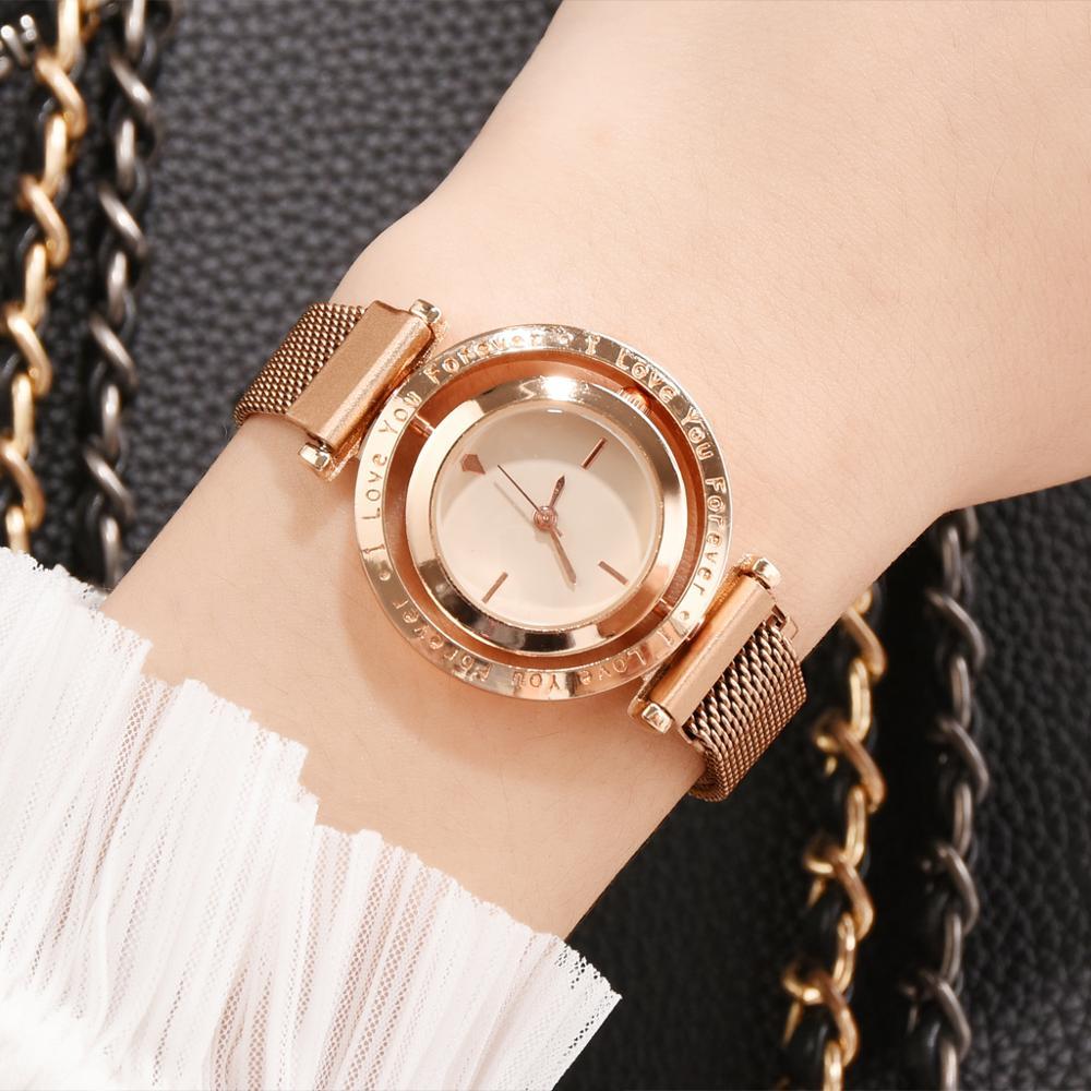 Роскошные женские часы из розового золота с магнитным сетчатым ремешком, женские наручные часы с циферблатом, женские часы-браслет, женские...