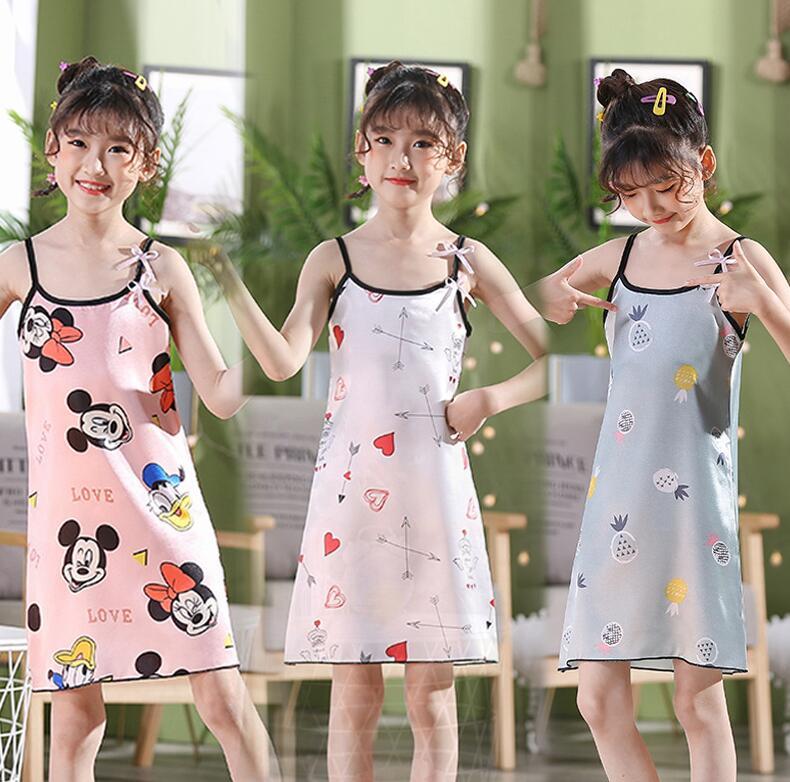 Menina verão vestido de noite arco suspender cetim macio confortável legal vestido criança pijamas bebê crianças filha pijamas Camisolas    -
