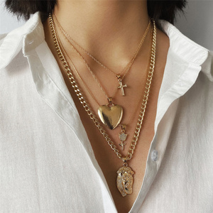 Vintage Multi Layer Pharaoh head Heart Pendant Necklace Boho Rose flower Cross Long Chain Necklace for Women Christian Jewelry(Hong Kong,China)