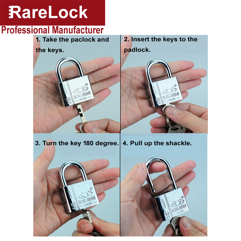 Купить с кэшбэком Steel Padlock for Garden Gate Home Door Car Security Bike Motor Anti theaf Gym Locker Outdoors Cabinet Box Rarelock MS538hh
