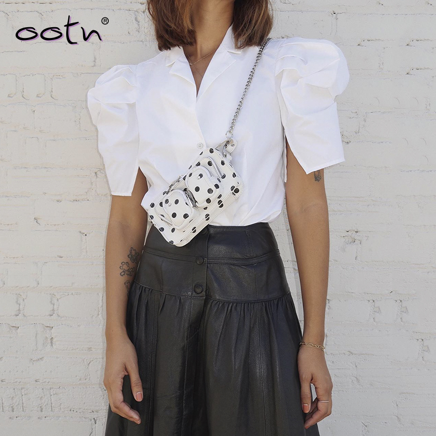 White Short Sleeve Solid Blouse And Top Women Puff Sleeve Vintage Elegant Shirt Female Top Mujer Streetwear Spring Summer 2020