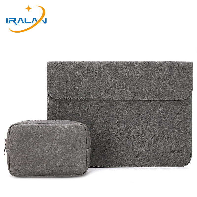 2019 New Women Men Leather Slim Scrub Matte Laptop Sleeve Bag For Macbook Air 13 Case 14 16 Touch ID Pro 15 2018 Notebook Cover