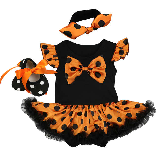 Halloween Costume for Girls Theme Party Cute Baby Girls Outfits Flutter Sleeve Romper Dress 3pcs Set Halloween Party Clothes
