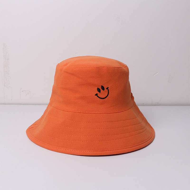 2020 New Style Cotton Smile Embroidery Bucket Hat Fisherman Hat Outdoor Travel Hat Sun Cap Hats For Men And Women 162