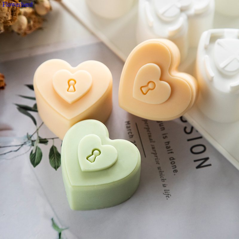 8 Cavities Love Lock Silicone Mould DIY Handmade Soap Silicone Mould Heart Shape Fondant Cake Chocolate Mold Cake Decors