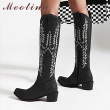 Купить с кэшбэком Meotina Winter Western Boots Women Zipper Thick Heels Knee High Boots Embroider Square Toe Shoes Ladies Autumn Plus Size 33-43