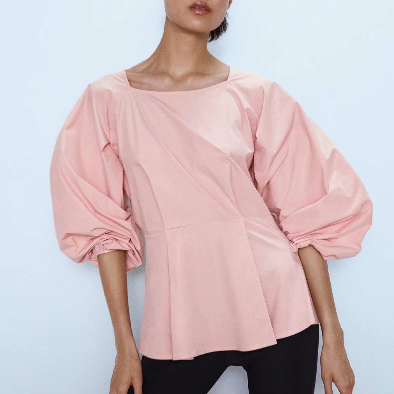 Women Cute Pink Ruffled Blouse Long Sleeve Sweet Shirts Preppy Style Casual Cozy Stylish Tops Blusas See Through Top Sexy Shirt