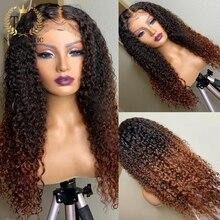 Perruque Lace Front Wig Remy naturelle ombrée, cheveux humains, pre-plucked, Deep Curly, 4x4, 13x4, pour femmes