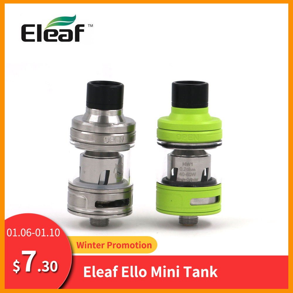 Big Sale Original Eleaf ELLO Mini Atomizer 2ml Capacity Tank HW1 Single-Cylinder/HW2 Coil Electronic Cigarette