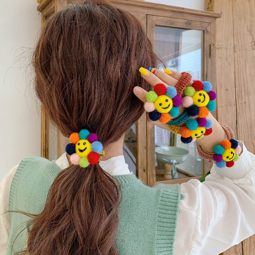 Korea Style Girl Horsetail Hair Ropes Simple Vintage Wool Sun Flower Smiley Rubber Band For Women Fashion Hair Accessories