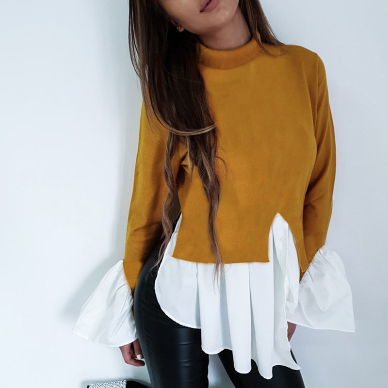 Fashion Long-sleeved Blouse Women Autumn Spring Ruffles Patchwork Slim High-collar  Ladies Tee Tops Bigsweety