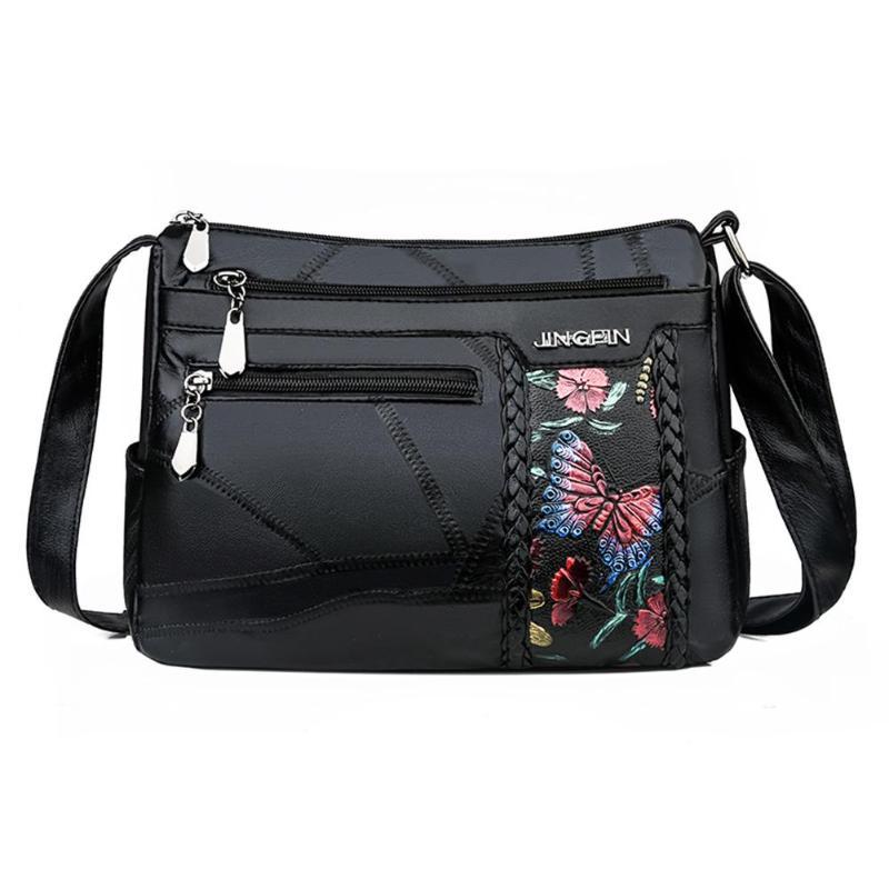 Women Elegant Flower Printed Shoulder Bag Fashion Leather Crossbody Handbag