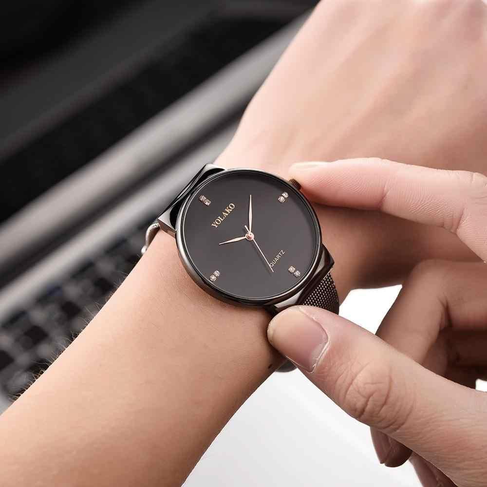 YOLAKO mode Sport diamant incrusté Ultra-mince maille ceinture montre bracelet Quartz montre hommes montres de luxe Relogio Feminino