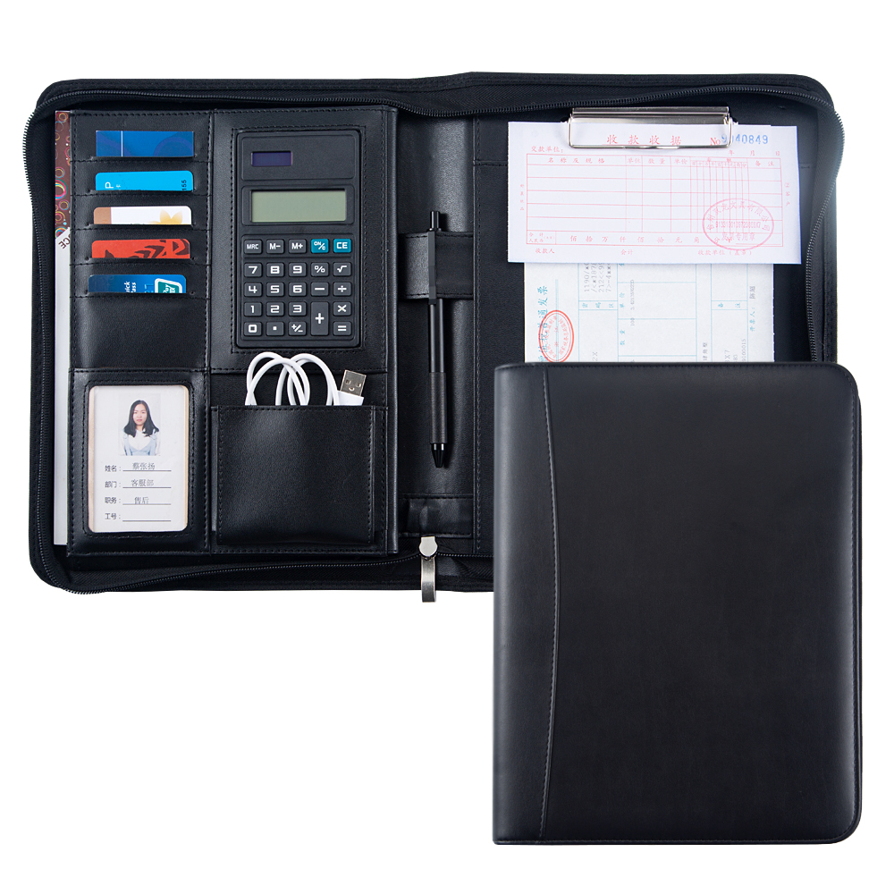 Customized B5 Padfolio Document Folder Briefcase PU Leather Business Document File Manager Folder With Calculator