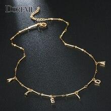 DOREMI 6 Mm Zirkonia Halskette Brief Pflastern Halskette Zahlen Personalisierte Halsketten mit Name Benutzerdefinierte Schmuck für Einzigartige Geschenke