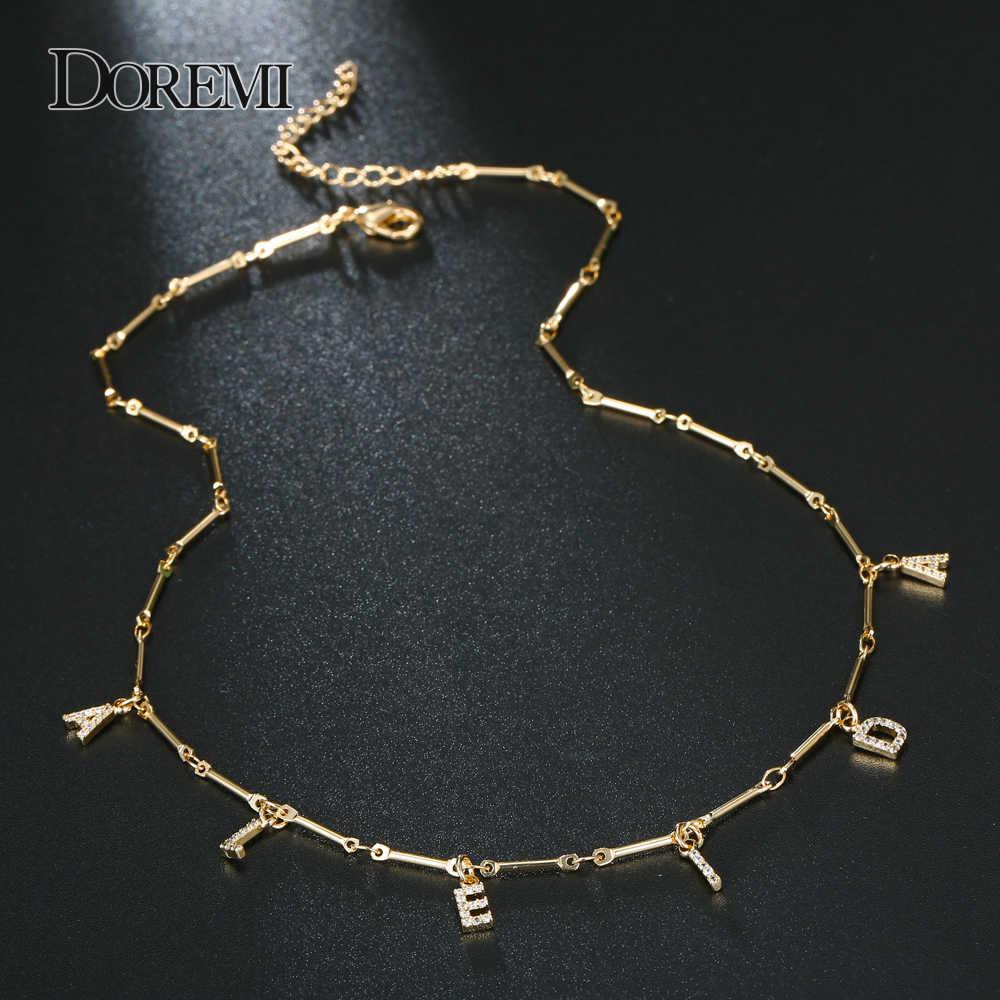 DOREMI 6 Mm naszyjnik z cyrkonią list Pave naszyjnik numery spersonalizowane naszyjniki z nazwą biżuteria na zamówienie dla Etsy wyjątkowe prezenty