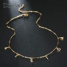 DOREMI collier en zircone 6 Mm, collier avec lettres et pavé, numéros personnalisés, bijoux personnalisés avec nom, pour cadeaux uniques