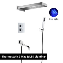 3 ways LED Light Thermostatic Chrome Waterfall Rain Shower Faucet Set System Column Brass Mixer Valve Shower Tap Plastic Hand wholesale and retail promotion thermostatic shower faucet chrome finish with plastic hand shower