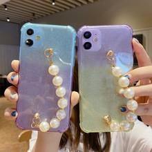 Funda blanda con correa de cadena y perlas de diamante ostentosas para iphone, funda de teléfono con diamantes de imitación, para iphone 12 Pro Max MiNi 11 ProMax XR X XS Max 7 8 plus SE 2020