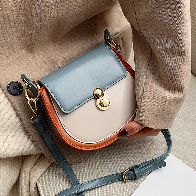 PU Leather Contrast Color Crossbody Bags For Women 2020 Fashion Small Shoulder Bag Female Handbags And Purses Travel Bags