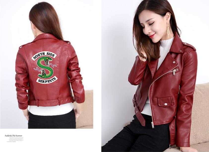 Winter Jacket Riverdale Women's PU Leather Jacket Motorcycle Jacket Short Southside Serpents Artificial Leather Riverdale Jacket