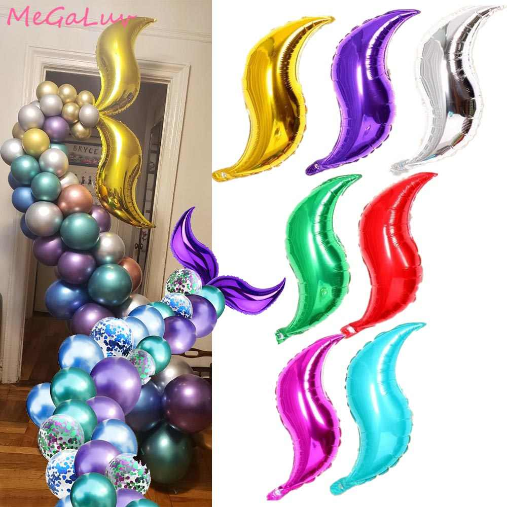 18 inch S-shape Foil Balloon Mermaid Tail Inflatable Air Balllons Birthday Party