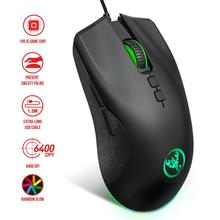 Gaming-Mouse Wired-Mouse-6400dpi Adjustable for Gamer Office-Accessories Mice Breathing-Light