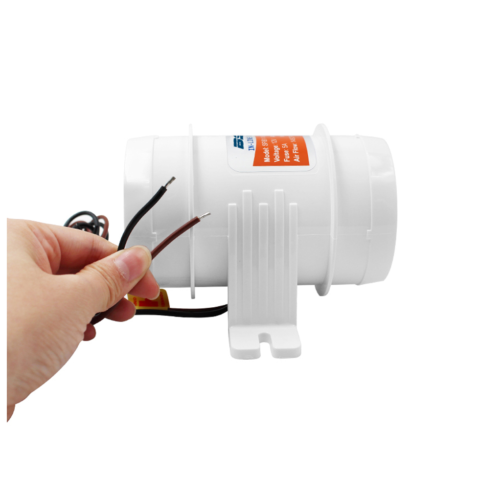 3 Inch Silent Inline Blower, 12V Quiet Air-Flow Turbo Fan For Air Circulation In Ducting, Vents, Grow Tents (White)