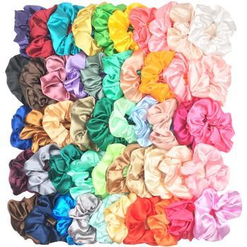 50pcs/40/30/20/10 Hair  Scrunchies Satin Elastic Velvet Bands Scrunchy  Ties Ropes Chiffon For Women Girls Hair Accessories
