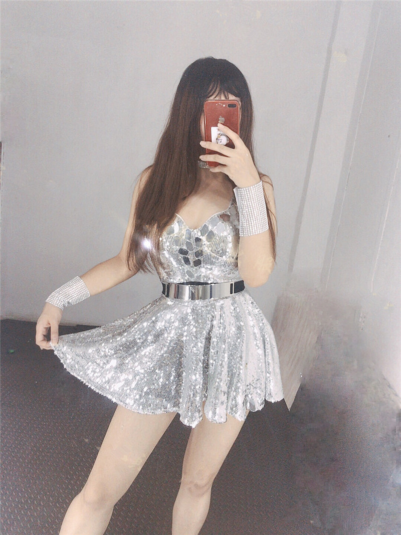 Bar Ds Costume New Nightclub Female Singer Gogo Dance Dress Sexy Sequined Princess Dress Singer Costume DJ Rave Outfit 2020