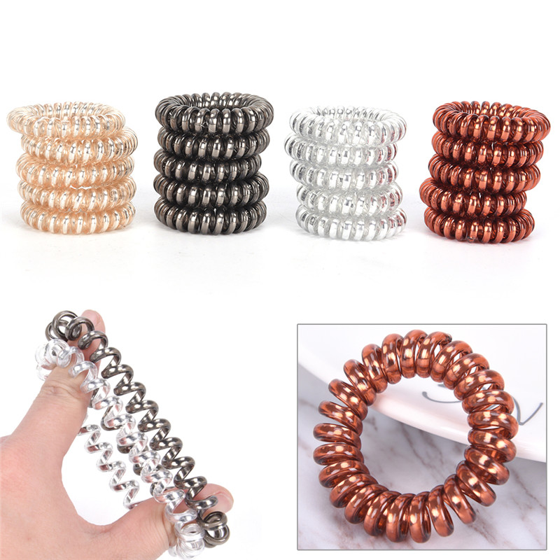 5Pcs/Lots Women Rubber Hair Rope Elastic Hairbands Spiral Shape Hair Ties Headwear Accessories Telephone Wire Line Headband