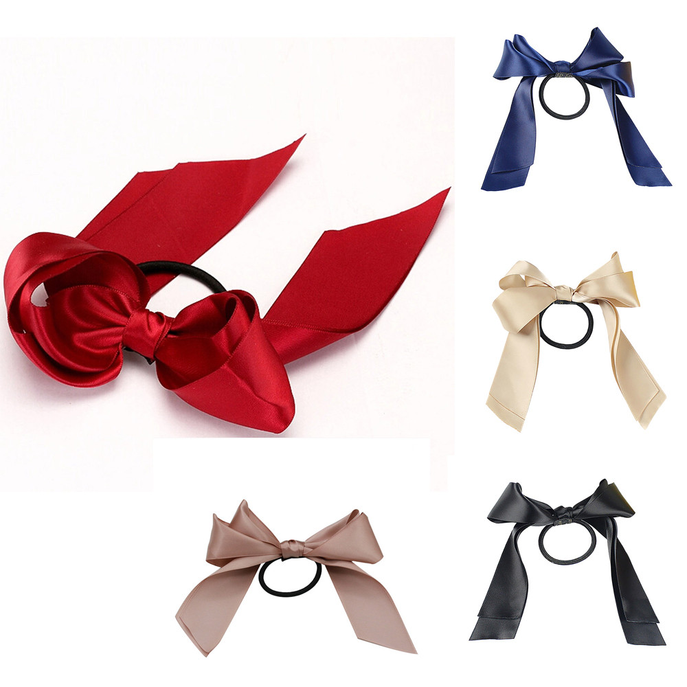 Women Rubber Bands Tiara Satin Ribbon Bow Hair Band Rope Scrunchie Ponytail Holder Gum For Hair Accessories резинки для волос